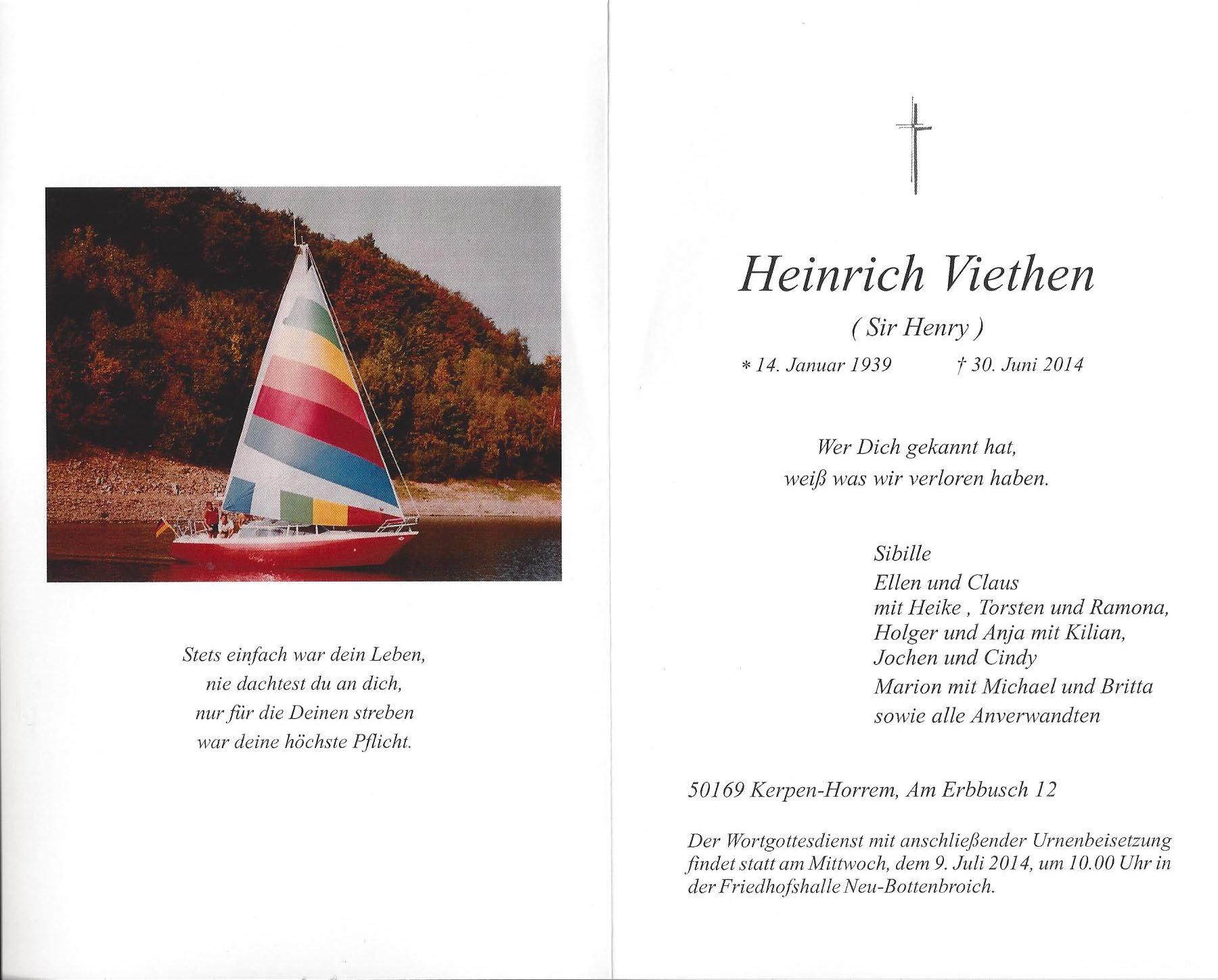 Traueranzeige Heinrich Viethen